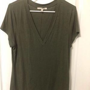 Express One Eleven Olive V neck Shirt Size Large